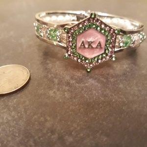 Alpha Kappa Alpha AKA Rhinestone Pearl Bracelet